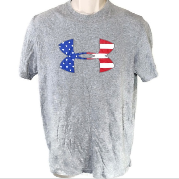 5602515722 Under Armour Heat Gear T-Shirt Size M Gray Flag